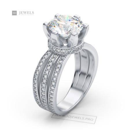 Pave triple shank contour diamond engagement ring image-1
