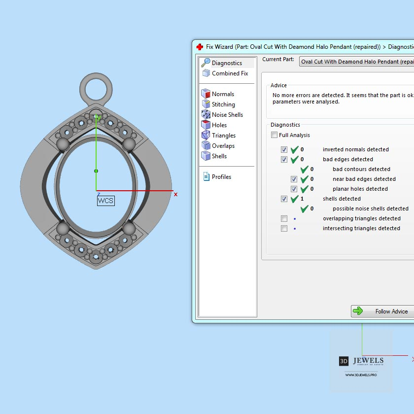Oval Cut With Diamond Halo Pendant Free 3D Model - Diagnostics