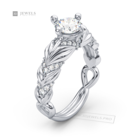 twisted engagement diamond ring image-1